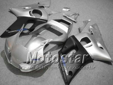 Road racing motorcycle fairing kit for YAMAHA YZF-R6 1998 1999 2000 2001 2002 YZFR6 YZF R6 silver black fairings set hh13