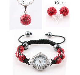 Wholesale Disco Ball Beads Stainless Steel - Shamballa Crystal Watch Necklace & Earring Set Red Disco Ball Beads JEWELLRY SET