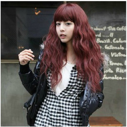 parrucche ricci di capelli umili ombre bang Sconti 2016 nuovo arrivo lunghi capelli ricci parrucca rossa vino soffice di alta qualità parrucche sintetiche trasporto libero