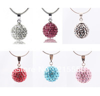 Wholesale Disco Ball Necklace Silver Chain - New 10mm Shamballa Pendant Chain Necklace Mix Color Rhinestone Disco Ball Crystal Beads Necklace