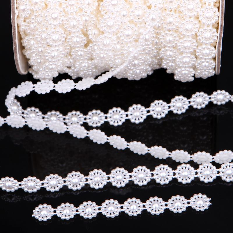 Type-1 VX18 10 meter wit zon bloem parel garland bruiloft middelpunt decoratie 10 mm breedte