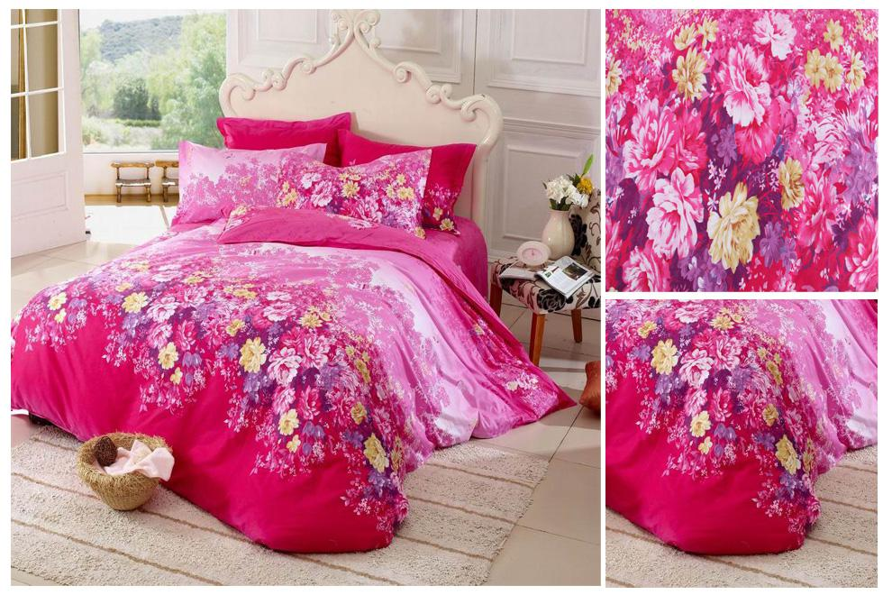 Beautiful Pink Bedding Set 100 Cotton Fabric Comforter