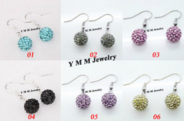 Wholesale Coloured Crystal Chandeliers - Mix Colour 10mm Clay Rhinestone Shamballa Beads Earring Wholesale 50 Pairs Free Shipping