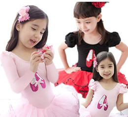 Wholesale Pageant Shows - Children Girls Dancing Shoes Puff Sleeve White Pink Ruffles Pompon Pageant Dress Ballet Show Magical Dresses B0378