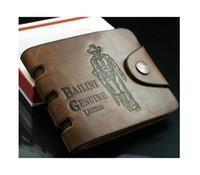 ingrosso portafogli in pelle di cowboy uomini-Portafoglio da uomo Bifold in pelle con tasche in pelle da cowboy classico