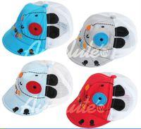 Wholesale Hat Model Child - 2013 Summer children Mesh hat Korean modelling baby sunshade hat boys and girls hat 4 colour 8 pcs lot XR572