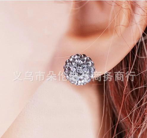 Kostenloser Versand Weihnachten Kristall Disco Kugel Ohrringe Stud Boutique Mode Perlen Ohrstecker 10mm /