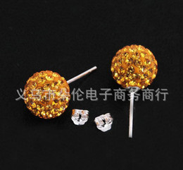 Wholesale Pink Disco Ball Earring Studs - Free Shipping Christmas Crystal Disco Ball Earrings Stud Boutique Fashion Beads Earring Studs 10mm(10pair lot)