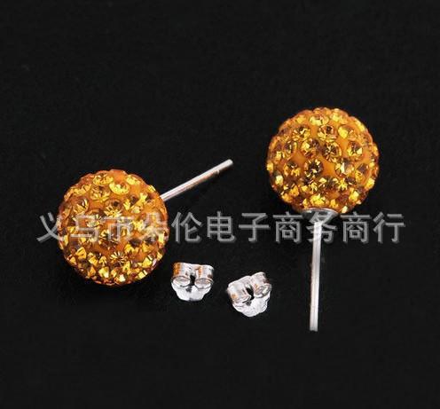 Kostenloser Versand Weihnachten Kristall Disco Kugel Ohrringe Stud Boutique Mode Perlen Ohrstecker 10mm (10pair / lot)
