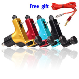 Wholesale Materials For Tattoos - Pop Rotary Tattoo Machine Gun 4 Colors Supply for tattoo kits+free gift Silica Gel RCA Clip Cords free shipping