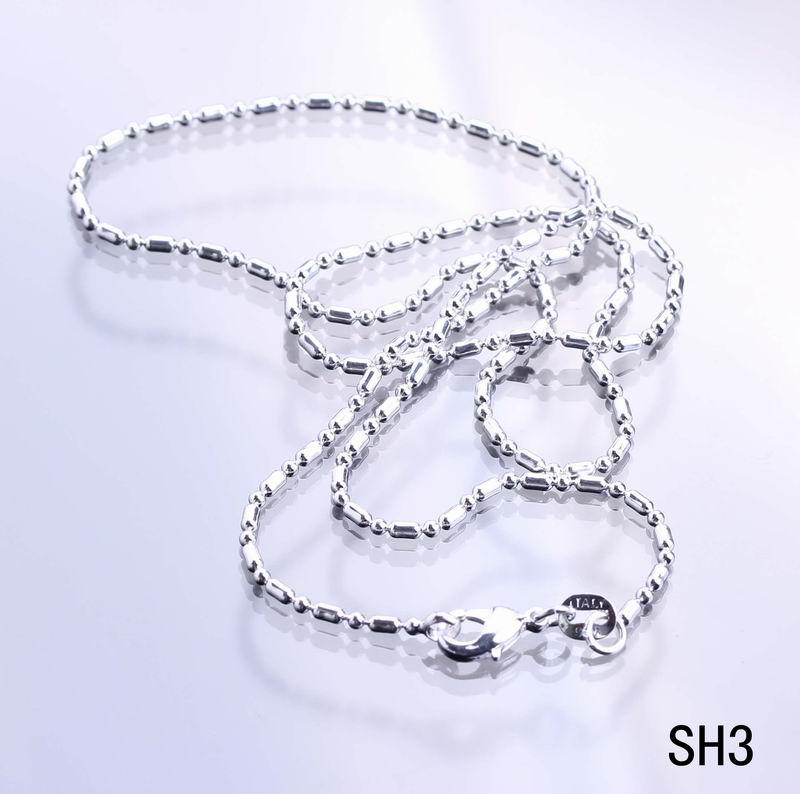 Vogue Unisex 925 Sliver Chain Necklace Elegant Briefness Fit For Pendant Necklace Jewelry Making 8Size Choose SH3*5