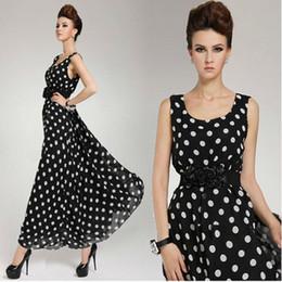 Wholesale Double Maxi Long Dress - Maxi Dress Long Sleeve Dot Chiffon Dresses New Fashion Plue Size With Delicate double flower Belt A1006