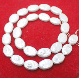 """Wholesale Oval White Bead - 10mm*15mm natural white pearl oval loose beads gemstone 15"""" DIY"""