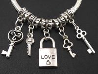 colgante colgante encanto al por mayor-Amor Key \ Lock Dangle Charm Big Hole Beads 100 unids / lote a granel 5styles Dangle Fit joyería europea de la pulsera DIY