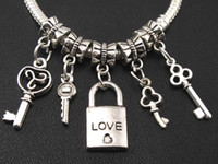 Love Key \ Lock Dangle Charm Big Hole Beads 100pcs / lot Bulk 5Styles Dangle Fit European Pulseira Jóias DIY