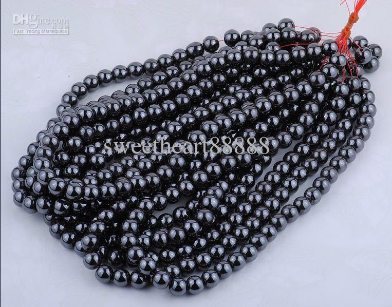 MIC NUOVO 8mm Black Natural Jet Hematite Gemstone rotondo palla sciolta trovata perline gioielli fai da te
