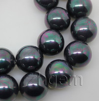 """Wholesale Shell Pearl Loose Round Beads - black 16mm shell mother of pearl round loose beads gem stone 15.5"""" DIY"""