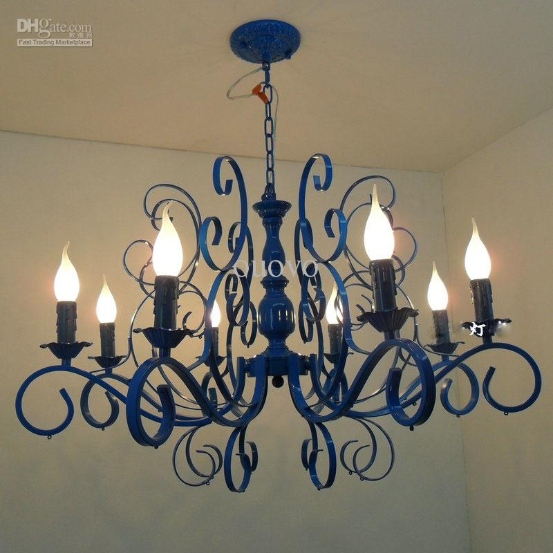 Painting Dining Room Chandelier: Luxury Painted Blue Iron 31 8 Lights Chandeliers New