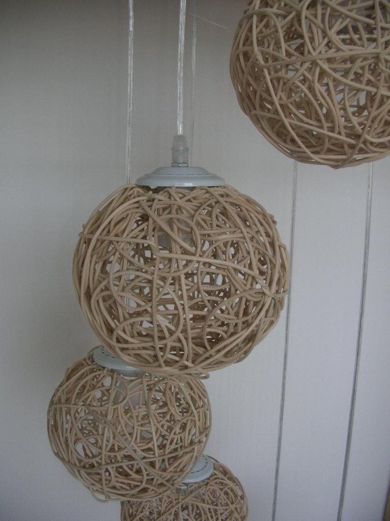 6 Light Natural Rattan Woven Ball Stair Pendant Light Living Room Pendant Lamp Bedroom Hallway Gallery Pendant Lamp Fixtures