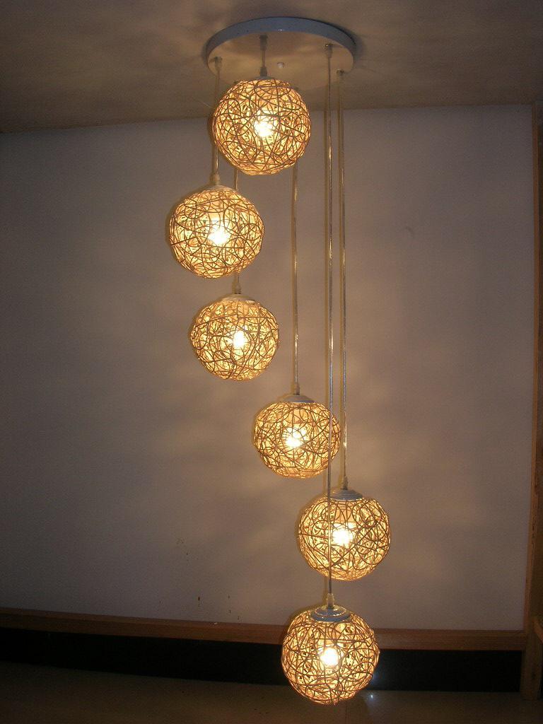 6 Light Natural Rattan Woven Ball Stair Pendant Light Free Shipping Living Room Pendant Lamp Bedroom Hallway Gallery Pendant Lamp Fixtures