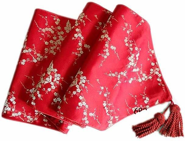 120 inch Extra Long Elegant Luxury Banquet Table Runner Silk Brocade Cherry blossoms End Table Cloth Fashion Decorative Bed Runner