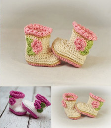 Wholesaler Boots Cheap Canada - 10%off!Fashion yellow purple+flower Crochet snow boots first walker shoes,Crochet toddler shoes,china shoes,cheap shoes! 6pairs 12pcs