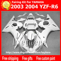 ingrosso plastica del motociclo aftermarket-7 regali carenatura in plastica ABS per YZF-R6 2003 2004 YZFR6 03 04 YZF R6 carene G1e tutto in puro bianco aftermarket moto carrozzeria