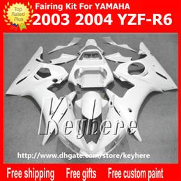 Nachrüstkunststoffe online-Freies 7 Geschenke ABS Plastikverkleidung kit für YZF-R6 2003 2004 YZFR6 03 04 YZF R6 Verkleidungen G1e alle rein weißen Aftermarket Motorrad Körperarbeit