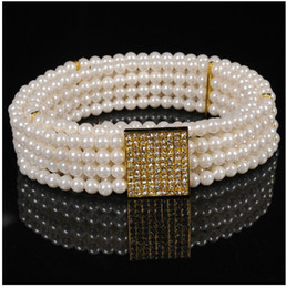 Wholesale Elastic Chain Belt - Retail 1 pcs Fashion Pearl diamond waist chain fashion lady elastic belt free shipping New Arrival