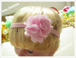Wholesale Barrette Net - 12pcs 2.5inch Net Hair Flower + 1CM elastic Cord Headband Hairband for Baby Kids Hair Accessories