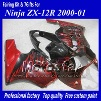 Wholesale zx12r red fairing resale online - 7 Gifts motorcycle fairing for Kawasaki Ninja ZX R ZX12R ZX R red flame in black abs fairings jj16