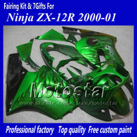 Wholesale zx 12r - 7 Gifts motorcycle fairing for Kawasaki Ninja ZX-12R 2000 2001 ZX12R 00 01 ZX 12R black flame in green abs fairings jj17