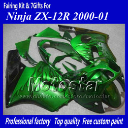 Wholesale Ninja Zx12r - 7 Gifts motorcycle fairing for Kawasaki Ninja ZX-12R 2000 2001 ZX12R 00 01 ZX 12R black flame in green abs fairings jj17
