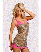 Wholesale Sexy Babydoll Leopard Lingerie - Erotic Adult Lingerie Sexy Underwear For Womens Leopard Printe Babydoll Dress Lace Trim Plus Size Sleepwear L XXL I2682