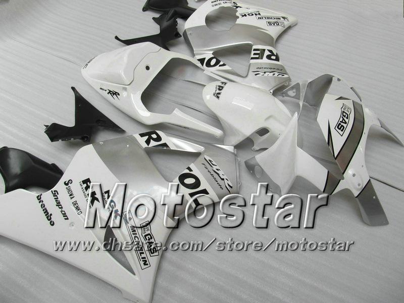 7Gifts Aftermarket Fairing for Honda CBR900RR 954 2002 2003 CBR900 954RR CBR954 02 03 CBR900RR White Silver Custom Backings Set JJ26
