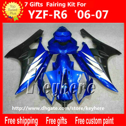 R6 Yamaha Part Canada - Free 7 gifts Custom race fairing kit for YAMAHA YZFR6 2006 2007 YZF R6 YZF-R6 06 07 fairings g4k new high grade blue black motorcycle parts
