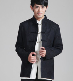 Chinese Kung Fu Jackets Canada - Handsome Chinese Men's Kung Fu Party Jacket Coat Black Size: S M L XL XXL