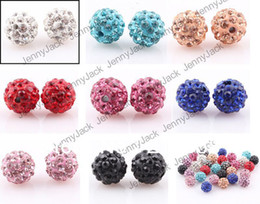 Wholesale Shamballa Clay Pave Beads - 100pcs 10MM DIY Clay Spacer Shamballa Beads Pave Rhinestone Crystal Disco Ball Beads Mix Sale