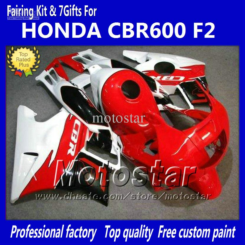 Bodywork fairings for HONDA CBR600 F2 91 92 93 94 CBR600F2 1991 1992 1993 1994 CBR 600 red white custom fairings kit jj41