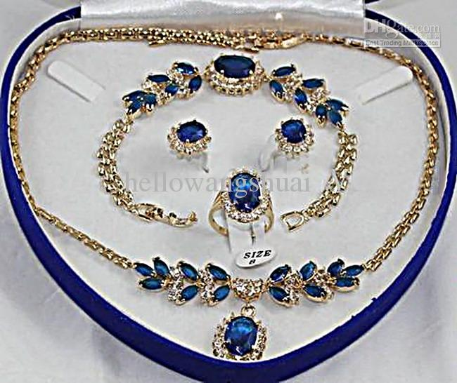 wholesale Fashion 18K GP blue Jade crystal Necklace Bracelet Earring Ring Sets Jewelry Sets
