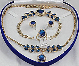 Wholesale Gold Sapphire Earring - wholesale Fashion 18K GP blue Jade crystal Necklace Bracelet Earring Ring Sets Jewelry Sets