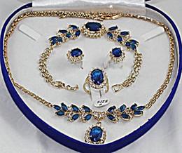 Wholesale Jade Sapphire Blue - Fashion 18K GP blue Jade crystal Necklace Bracelet Earring Ring Sets Jewelry Sets