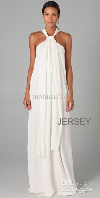 Cheap Plus Size Gorgeous White Halter Long Wedding Party Floor ...