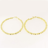 Wholesale Golden Earrings Hooks - CJT6 Large Round Circle Hoop Hook Dangle Earrings Ear Studs Metal Thick Golden Fashion Findings Charms Jewelry Making 5cm Dia