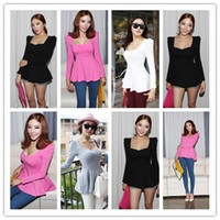 Wholesale Tunic Tops Ruffles - 2016 New Fashion Sexy Womens Puff Long sleeves Fitted Blouse Fril Tunic Fitted Peplum Tops T-shirt