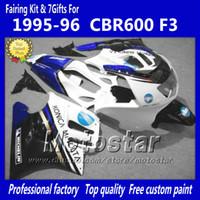 f3 plásticos venda por atacado-Placas de plástico ABS ajustadas para HONDA CBR600F3 95 96 CBR600 F3 1995 1996 CBR 600 F3 95 96 carenagens pretas brancas brilhantes