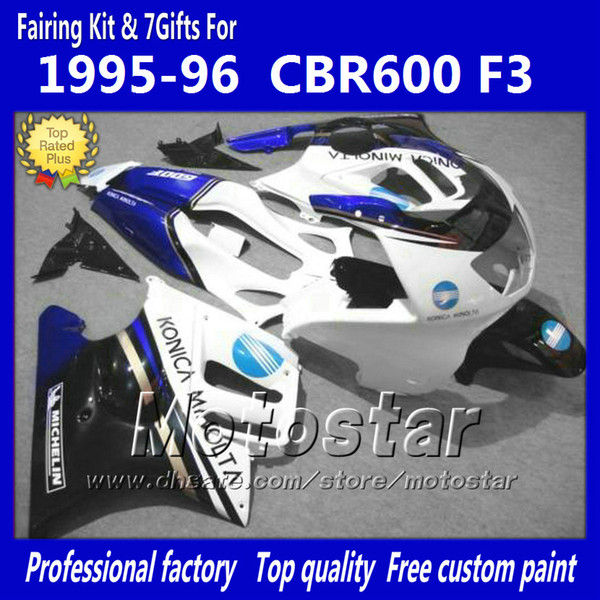 ABS plastic fairings set for HONDA CBR600F3 95 96 CBR600 F3 1995 1996 CBR 600 F3 95 96 glossy white black fairings