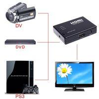 Wholesale Free Video Splitter - Mini 3 Port 1080P Video HDMI Switch HDMI Switcher HDMI Splitter with IR Remote splitter box Free shipping C1182