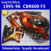 Wholesale Cbr Custom Fairings - Bodywork fairings with 7 gifts for HONDA CBR600F3 95 96 CBR600 F3 1995 1996 CBR 600 F3 95 96 orange red black custom fairings set jj49