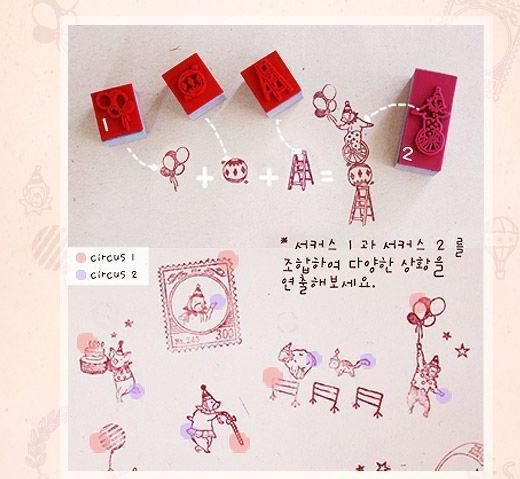 Retail Wooden circus cartoon vintage Antique Stamps seal diary carved gift craft toy DIY